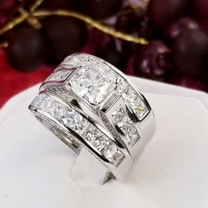Real 925 Princess Wedding Ring Set